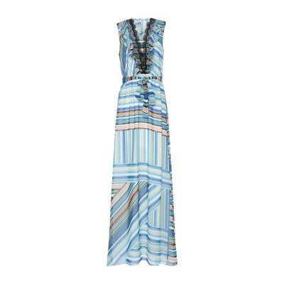 BIANCOGHIACCIO ロングワンピース&ドレス アジュールブルー 42 ポリエステル 100% ロングワンピース&ドレス