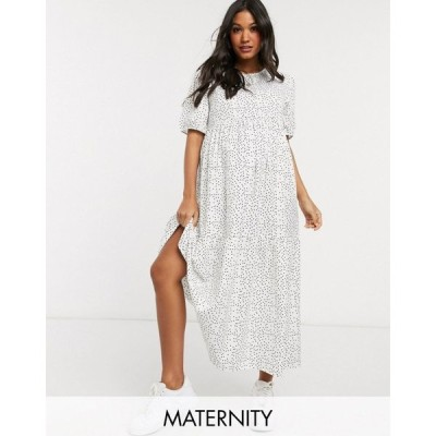 ミスガイデッド Missguided Maternity レディース ワンピース マキシ丈 ワンピース・ドレス maxi smock dress in polka dot マルチカラー