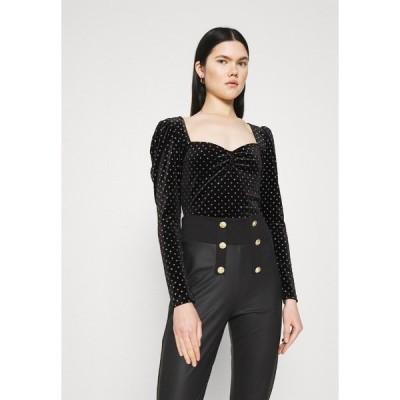 ミスセルフフリッジ カットソー レディース トップス SWEETHEART NECK - Long sleeved top - black
