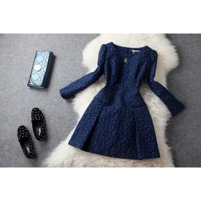 パーティー 披露宴  欧米名媛愛着 ブローチ上品ジャカード ドレス ワンピース