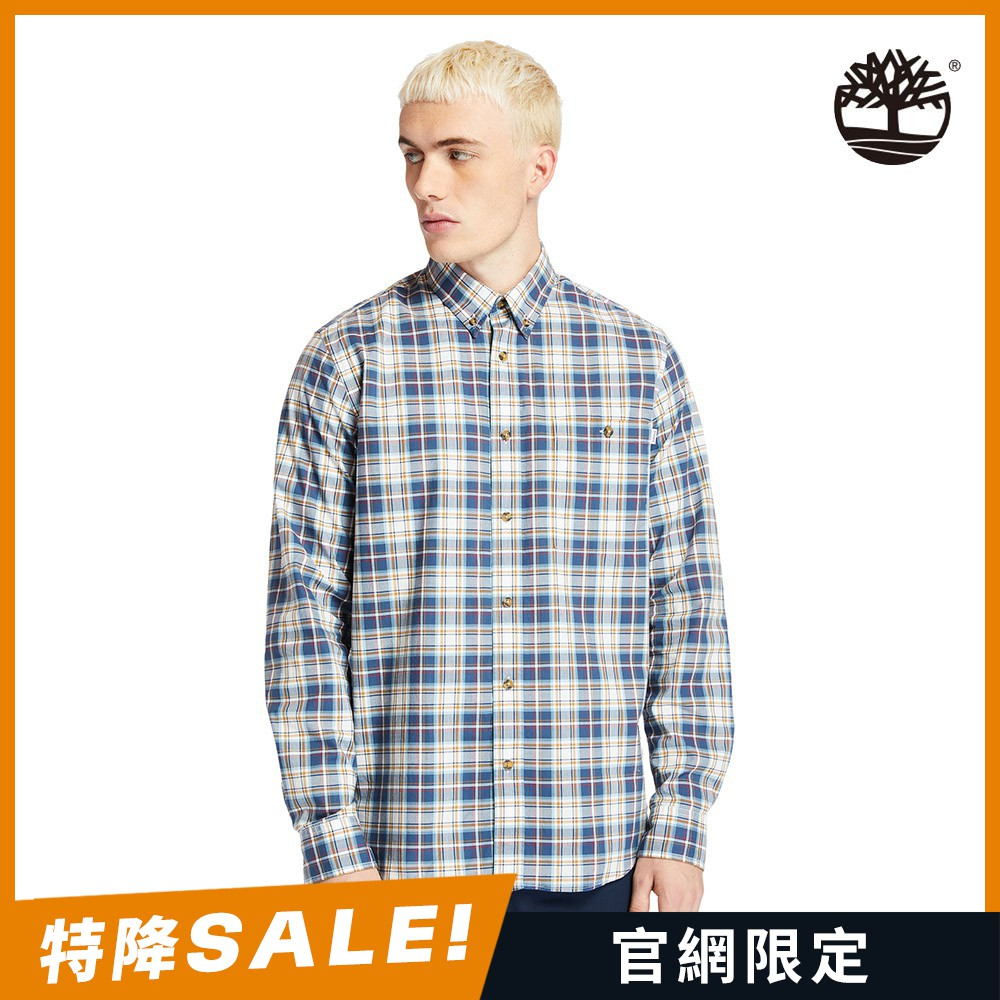 Timberland 霧灰藍休閒格子長袖襯衫|A252HP50