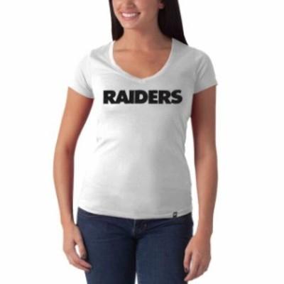 47 フォーティーセブン スポーツ用品  47 Brand Oakland Raiders Womens Showtime Slim Fit V-Neck T-Shirt - Gray