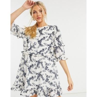 インザスタイル ミニドレス レディース In The Style x Lorna Luxe mini dress with ruffle detail in mono floral エイソス ASOS マルチカラー