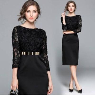 ドレス パーティードレス ロング ドレス ブラックワンピース ブラックドレス ウエストベルト ウエストマーク演奏会 結婚式 お呼ばれドレ