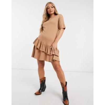 エイソス レディース ワンピース トップス ASOS DESIGN mini dress with frill asymmetrical hem in camel Camel