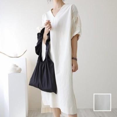 韓国 ファッション レディース ワンピース 春 夏 秋 新作 カジュアル naloI785  ギャザー 袖コンシャス ゆったりタイト ミモレ シンプル