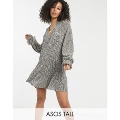 エイソス レディース ワンピース トップス ASOS DESIGN Tall plisse v neck long sleeve mini dress in cream and black ditsy Cream/bla