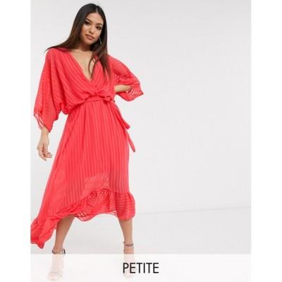 ブーフー ミディドレス レディース Boohoo Petite exclusive midi dress with ruffle hem and belted waist in pink エイソス ASOS ピンク