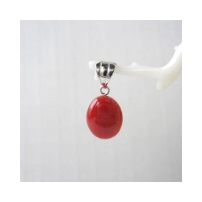 高知産赤珊瑚のオーバルペンダントトップ/(10×8ミリ)/K14WG/深海さんご/『宝石サンゴ』