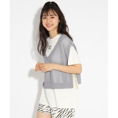 ★ニコラ掲載★【洗える】ニットべスト+Tシャツセット