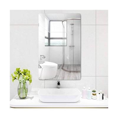 MiraHouse ミラー 姿見鏡 浴室鏡 洗面台 枠無し おしゃれ 横縦掛け可能 取り付け簡単 円弧デザイン 飛散防止加工付き (30CM*50CM)
