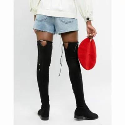 エイソス ブーツ ASOS DESIGN Tall Kaska flat studded over the knee boots Black