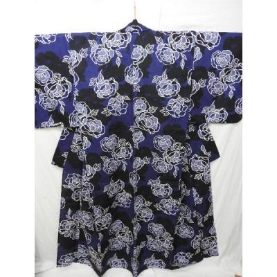 ☆モダニズム1967☆夏♪綿 浴衣 薔薇 藍色