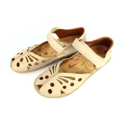 【中古】H.P.S. エッチ ピー エス Health Promoting Shoes サンダル シューズ コンフォート 靴 レザー ベージュ系 サイズ24cm レディース 【ベクトル 古着】