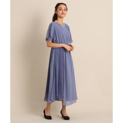 ドレス Luxe brille サイドレースジョーゼットロングドレス