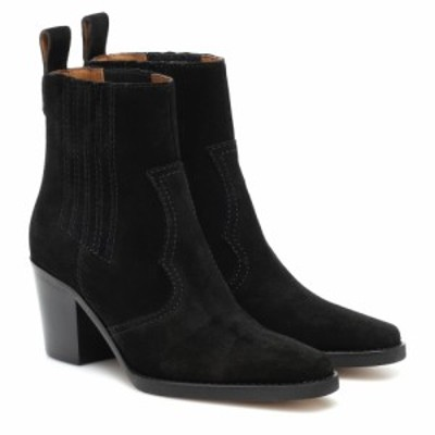 ガニー Ganni レディース ブーツ ショートブーツ ウェスタンブーツ シューズ・靴 western suede ankle boots Black