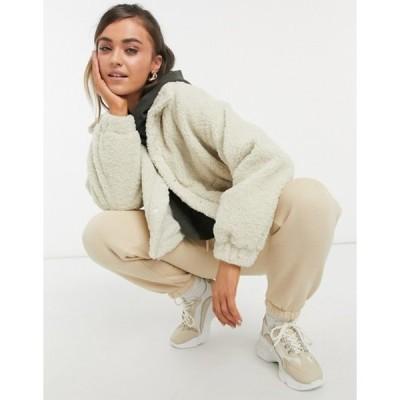 エイソス レディース ジャケット・ブルゾン アウター ASOS DESIGN fleece cropped jacket in camel