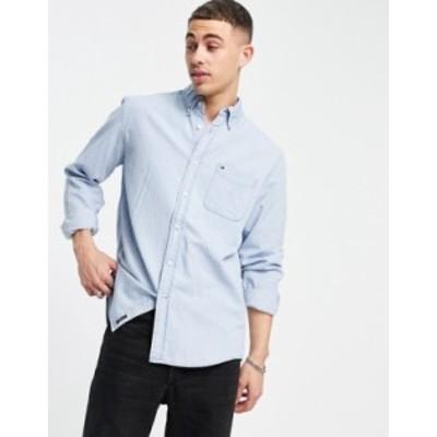 トミー ヒルフィガー メンズ シャツ トップス Tommy Hilfiger print classic fit long sleeve shirt Lt indigo wash