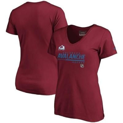ファナティクス ブランデッド レディース Tシャツ トップス Colorado Avalanche Fanatics Branded Women's Authentic Pro Core Collection Prime V-Neck T-Shirt