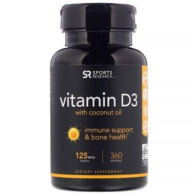 Vitamin D3 with Coconut Oil, 125 mcg (5,000 IU), 360 Softgels