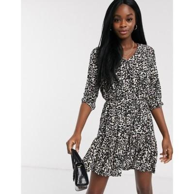ミスセルフフリッジ レディース ワンピース トップス Miss Selfridge smock dress in animal print
