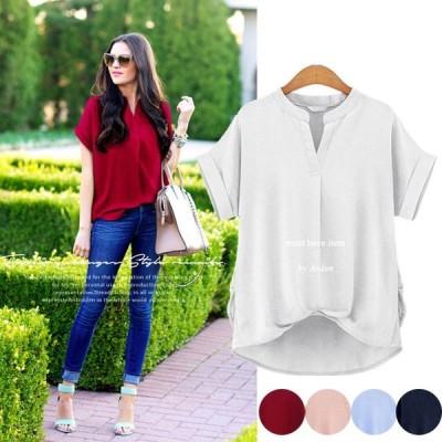 シャツ レディース 半袖 スキッパーシャツ プルオーバー ブラウス コットン オーバーサイズ 大きいサイズ  得トクセール