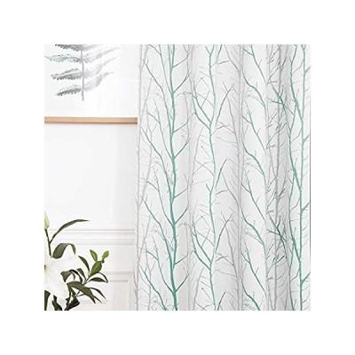 REEPOW 遮光カーテン グリーングレーのツリーパターン 子供部屋用 断熱ウィンドウカーテンパネル スライド式ガラスドア用 (52 x 63インチ、