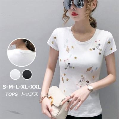 Tシャツ 刺繍 レディース コットン トップス 半袖Tシャツ クルーネック デイリーコーデ 韓国ファッション 可愛い ガーリー 2020夏新作 快適生地 きれいめ