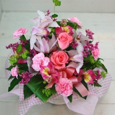 【結婚祝いの花 お祝い 94】父の日 プレゼント 誕生日 結婚記念日 ギフト おまかせ!ピンク系フラワーアレンジメント 花ギフト