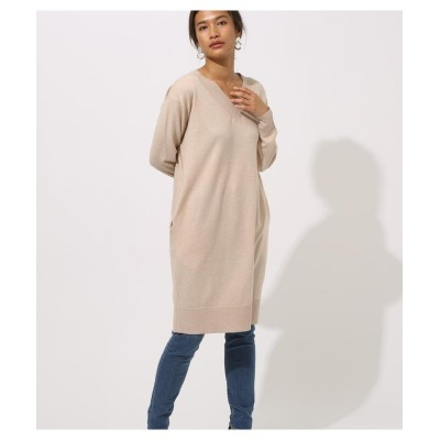 (AZUL by moussy/アズールバイマウジー)VNECK KNIT ONEPIECE/レディース BEG