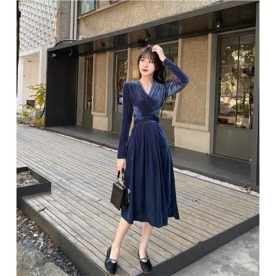 新作追加 特価 高品質日系 ファッションOL正式な場合礼装ドレス ベルベット レトロ 香港スタイル セクシーなワンピース