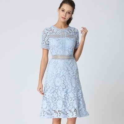袖あり ドレス パーティードレス ミディアムドレス レース かぎ針編み 半袖 ミディアム丈 Aライン 大きいサイズ レトロ オードリー