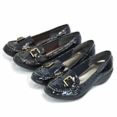 4E エナメル ローファー ★YZ161  シューズ レディーズ 靴 大きいサイズ ワイズ 4E 痛くない パンプス ラウンドトゥ ローヒール ブラ