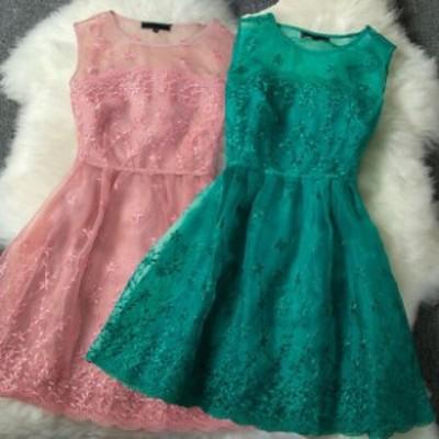 ミニドレス予約2016春新作可愛いオーガンジー刺繍ワンピース緑ピンクS-L T81052  送料無料