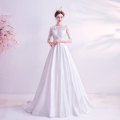 ANGEL 七分袖 肌透け チュール レース スパンコール ビーズ トレーン プリンセス Aライン ロングドレス ホワイト 白