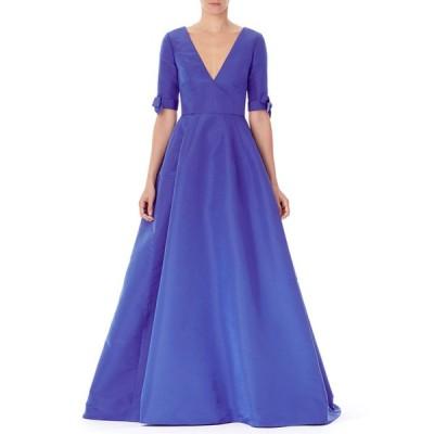 キャロライナヘレラ レディース ワンピース トップス V-Neck Bow-Cuff Silk Gown