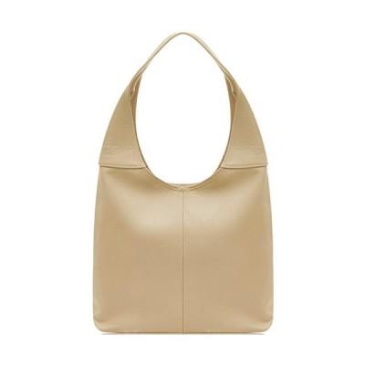 Handbag Bliss Italian Leather Soft Slouch Shoulder Bag Handbag Med Lg with Leather Mobile Phone Pocket Light Taupe 並行輸入品