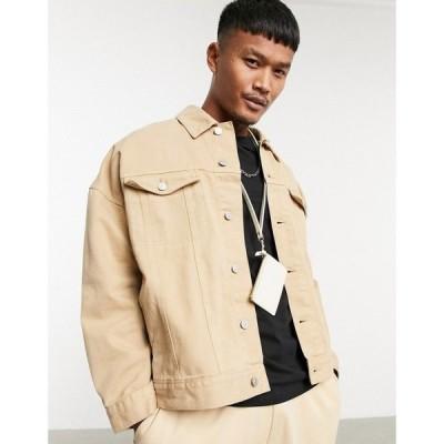 エイソス ASOS DESIGN メンズ ジャケット デニムジャケット アウター oversized denim western jacket in stone ベージュ