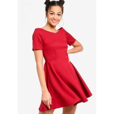 サムシングボロウド Something Borrowed レディース パーティードレス ワンピース・ドレス Wide Neck Fit & Flare Dress Maroon