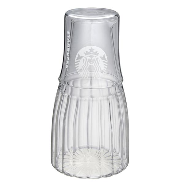 星巴克豎紋玻璃壺附杯