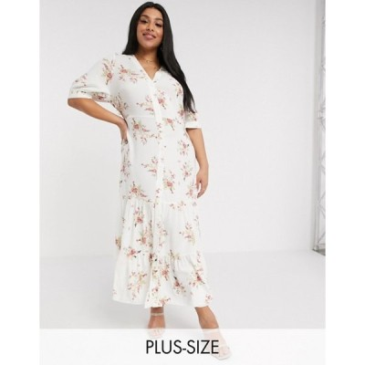 リバーアイランド レディース ワンピース トップス River Island Plus floral print maxi shirt dress in cream