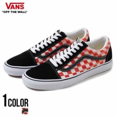 スニーカー メンズ VANS バンズ Order Limited Old Skool (Blur Check) True White Red 即日発送 靴 シューズ オールドスクール ローカッ