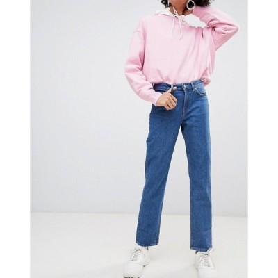 ウィークデイ レディース デニムパンツ ボトムス Weekday organic cotton mid rise slim straight jean in blue