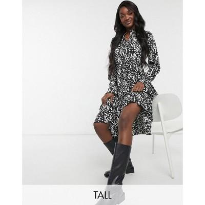 ヴェロモーダ Vero Moda Tall レディース ワンピース ミドル丈 ワンピース・ドレス Midi Smock Dress In Black Smudge Print マルチカラー