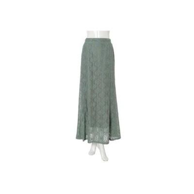 フィフス fifth 裾フレアフラワーレーススカート (グリーン)