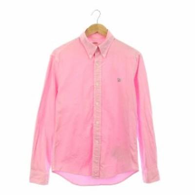 【中古】ハリウッドランチマーケット HOLLYWOOD RANCH MARKET シャツ 長袖 ボタンダウン 刺繍 前開き 2 ピンク メンズ