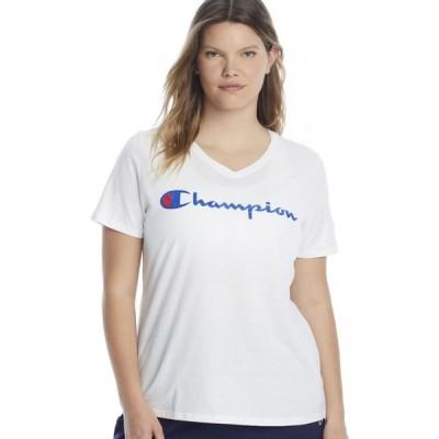 チャンピオン Champion レディース Tシャツ 大きいサイズ Vネック トップス Plus Size Graphic V-Neck Tee White