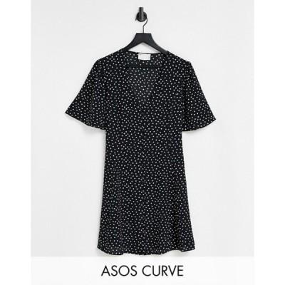 エイソス レディース ワンピース トップス ASOS DESIGN Curve button through tie back mini tea dress with angel sleeve in mono spot