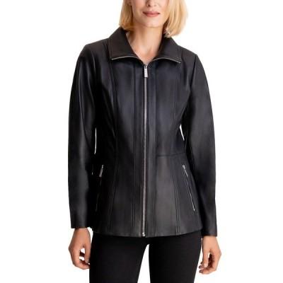 マイケルコース コート アウター レディース Leather Jacket Black