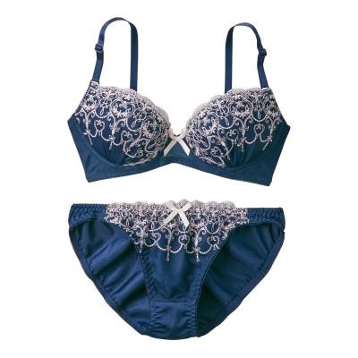 刺しゅうレースブラ。ショーツセット(C65/M) (ブラジャー&ショーツセット)Bras & Panties